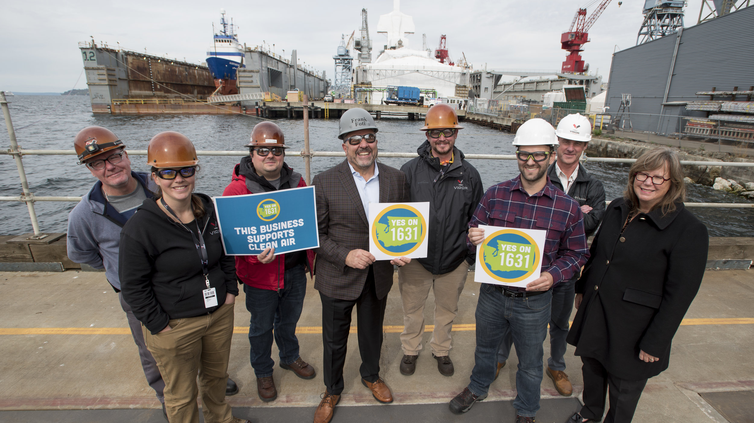 Staff of Vigor Shipyards at a recent Yes on 1631 event at the shipyards. Photo © Hannah Letinich