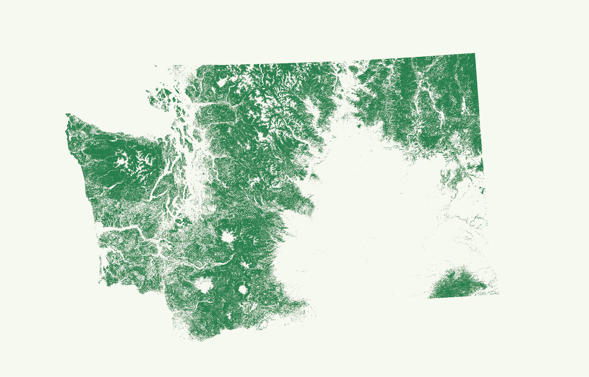 Half of Washington's land mass is covered in forest.
