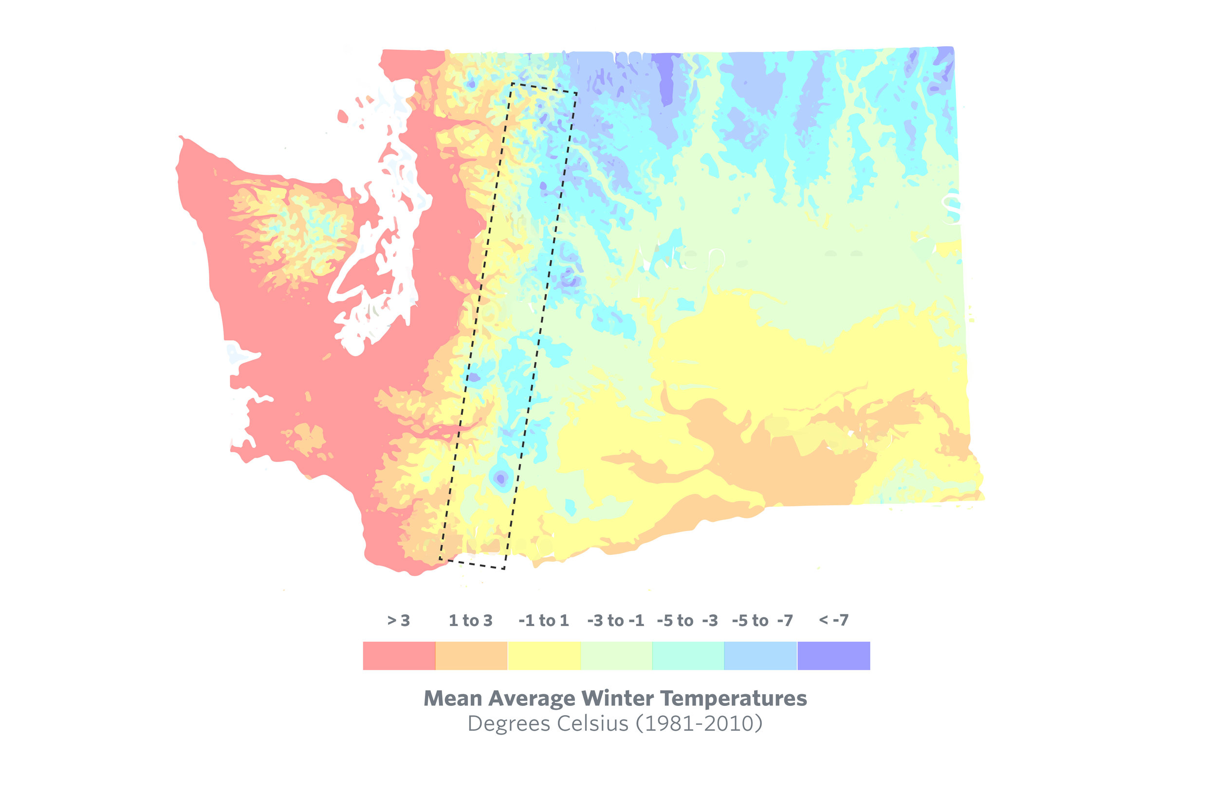 In the Eastern Cascades, there are no data linking the depth and duration of snowpack to tree canopy cover. This area represents a unique temperature zone where the snowpack-tree canopy relationship has not yet been explored.