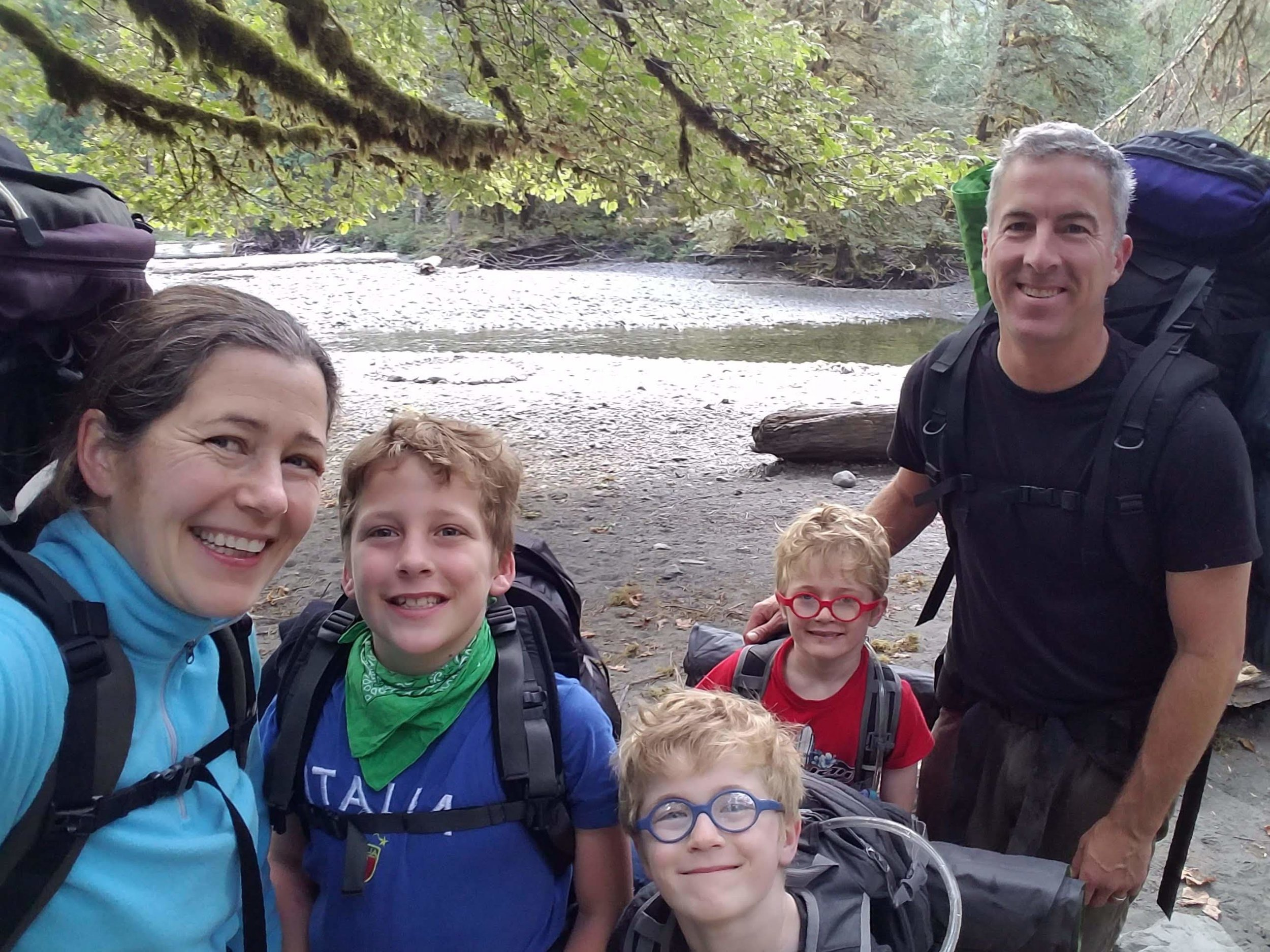Linnea and her family on a backpacking trip through Olympic National Park in 2018. Photo courtesy Linnea Westerlind.