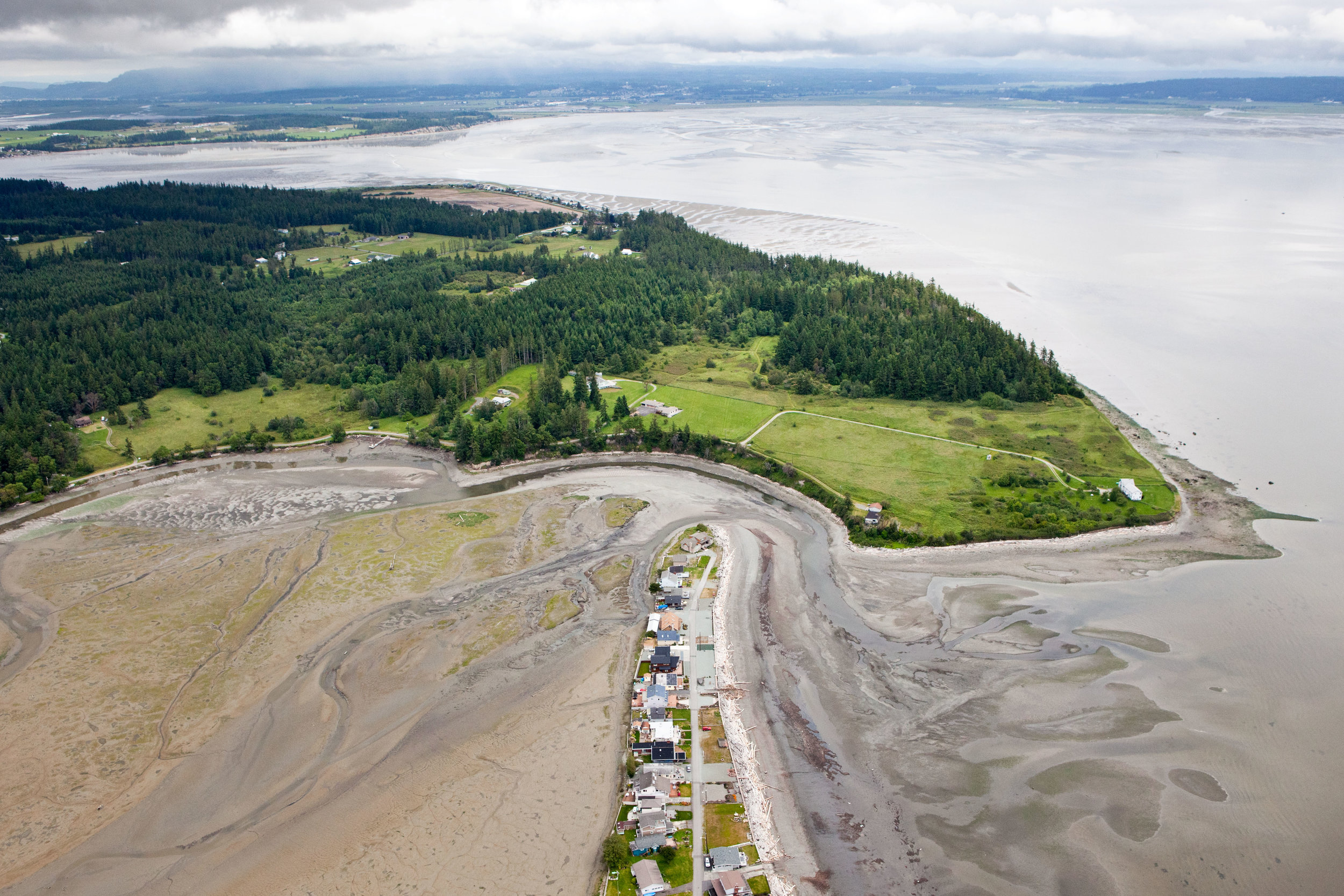 Barnum Point on Camano Island feeds sediment out into Port Susan Bay and Puget Sound. © Benj Drummond with aerial support from Lighthawk.