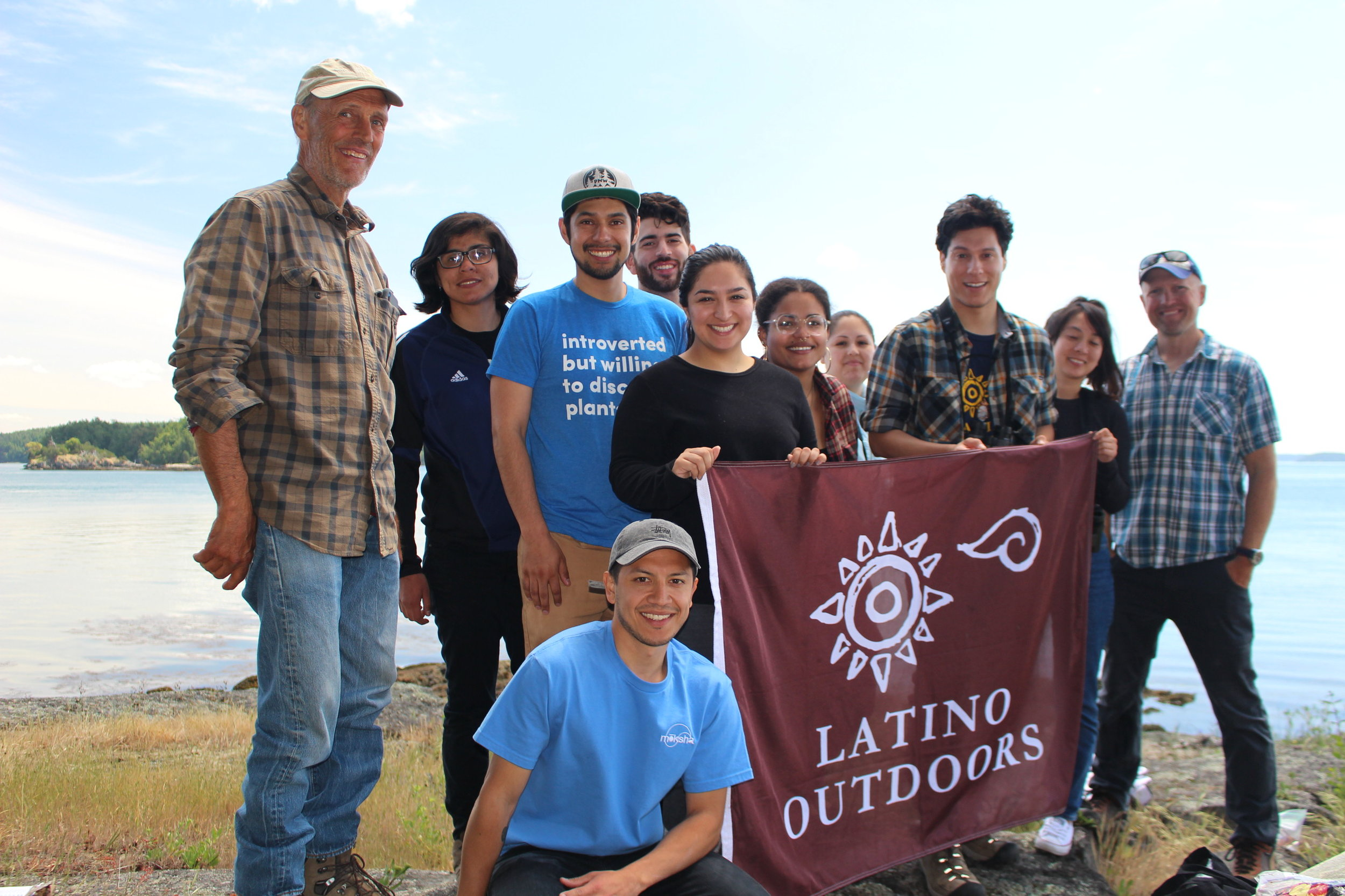 Latino Outdoors group on Yellow Island.