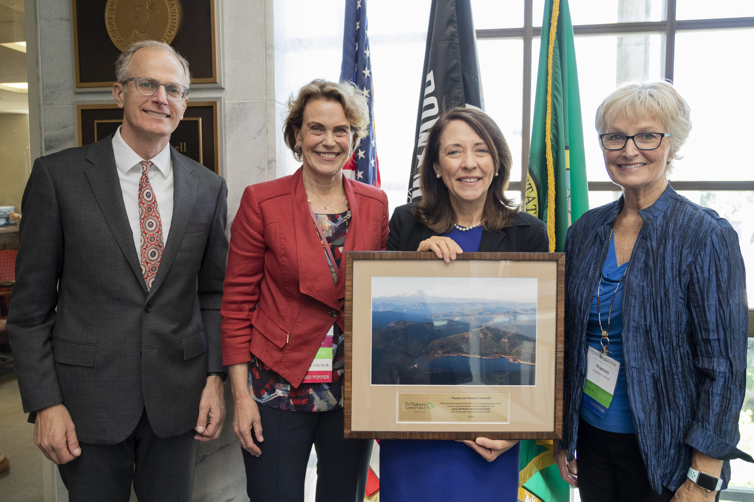 We thanked Senator Cantwell for her tremendous leadership to save the Land and Water Conservation Fund during our Advocacy Day meeting on June 12. From left, Washington state director Mike Stevens, state Board chair Kate Janeway, Senator Cantwell and TNC Global Board Chair Fran Ulmer. TNC photo.