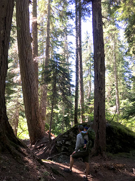 Brain and his son Ellis on a hike in the Central Cascades.