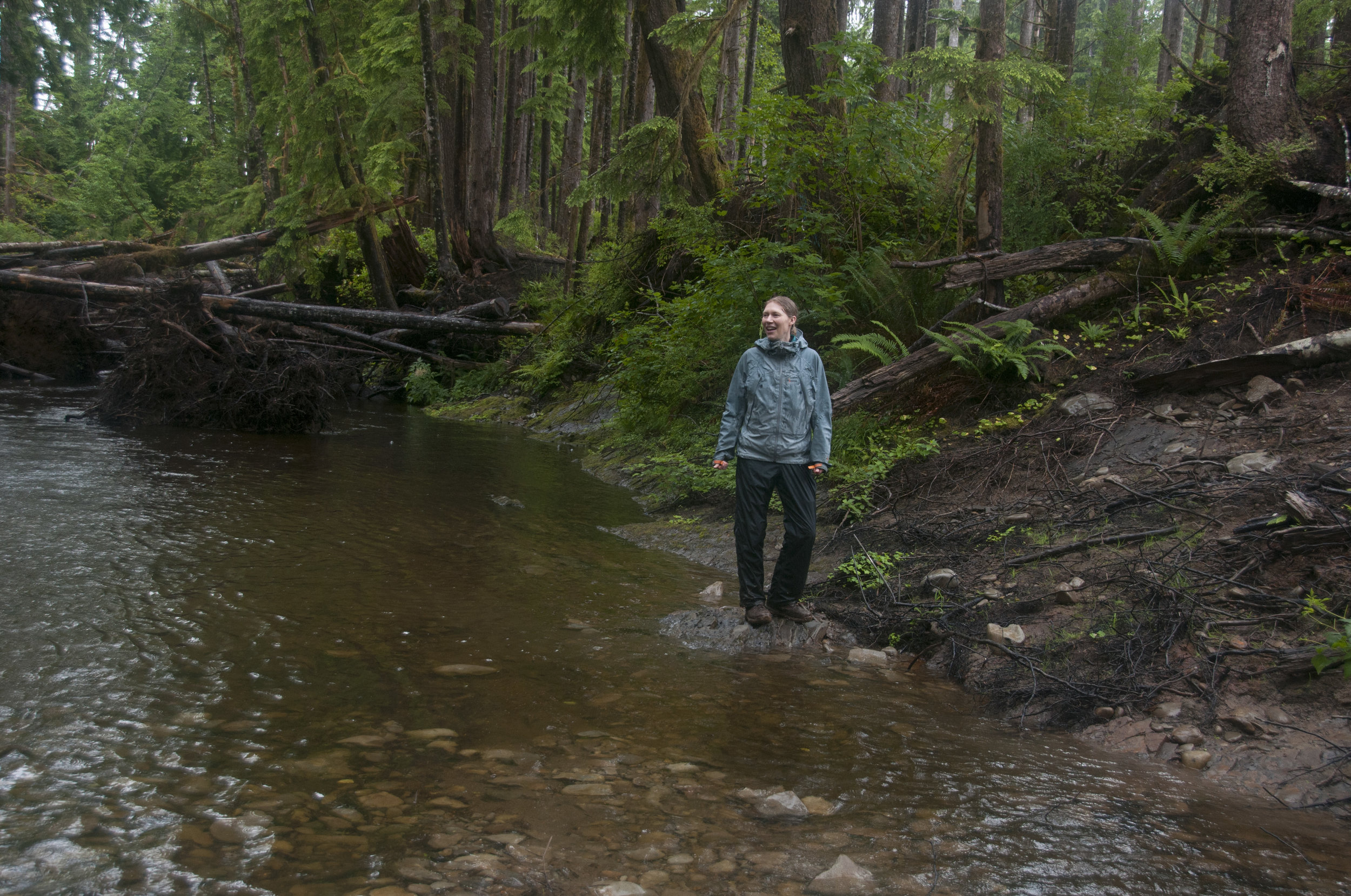 Aquatic ecologist Emily Howe on a tributary to the Clearwater. Photo ©Hannah Letinich