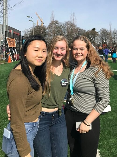 """We march in solidarity with teens like Olivia Schroeder, right, and friends. At the Youth Climate Strike in March, Olivia told us, """"My participation in the climate strike and my volunteering has shown me that I can make a difference."""""""