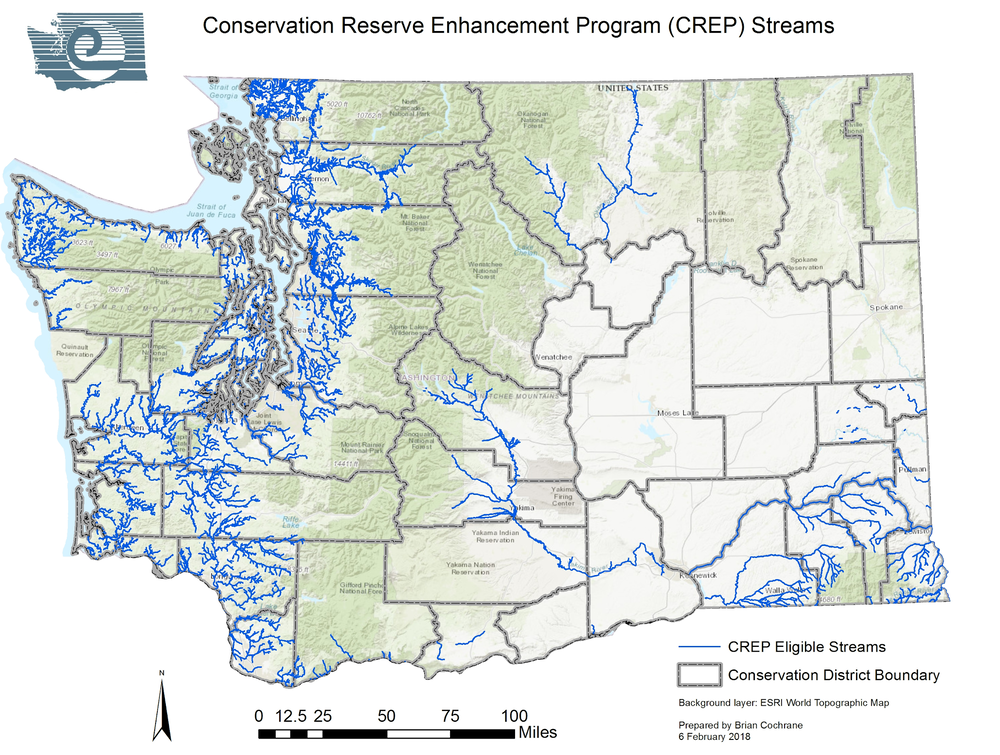 Map of CREP eligible streams in Washington state. Source:  www.scc.wa.gov