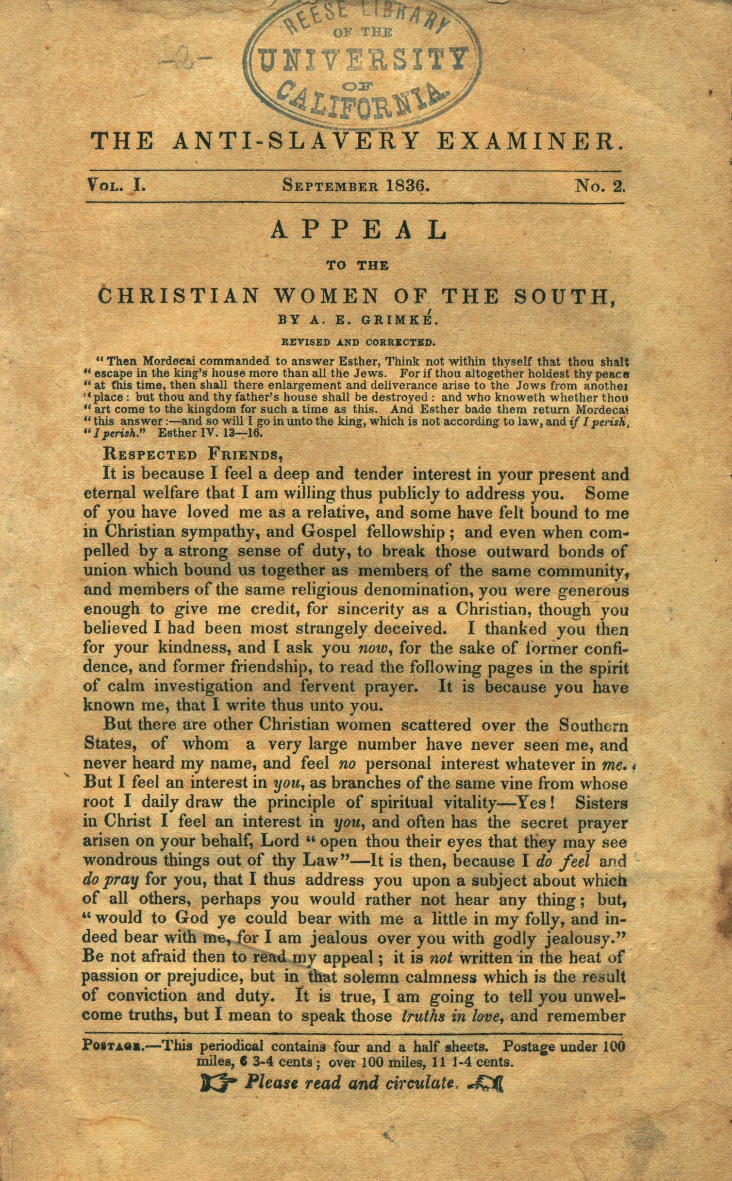 Angelina Grimke, Appeal to the Christian Women of the South, 1836