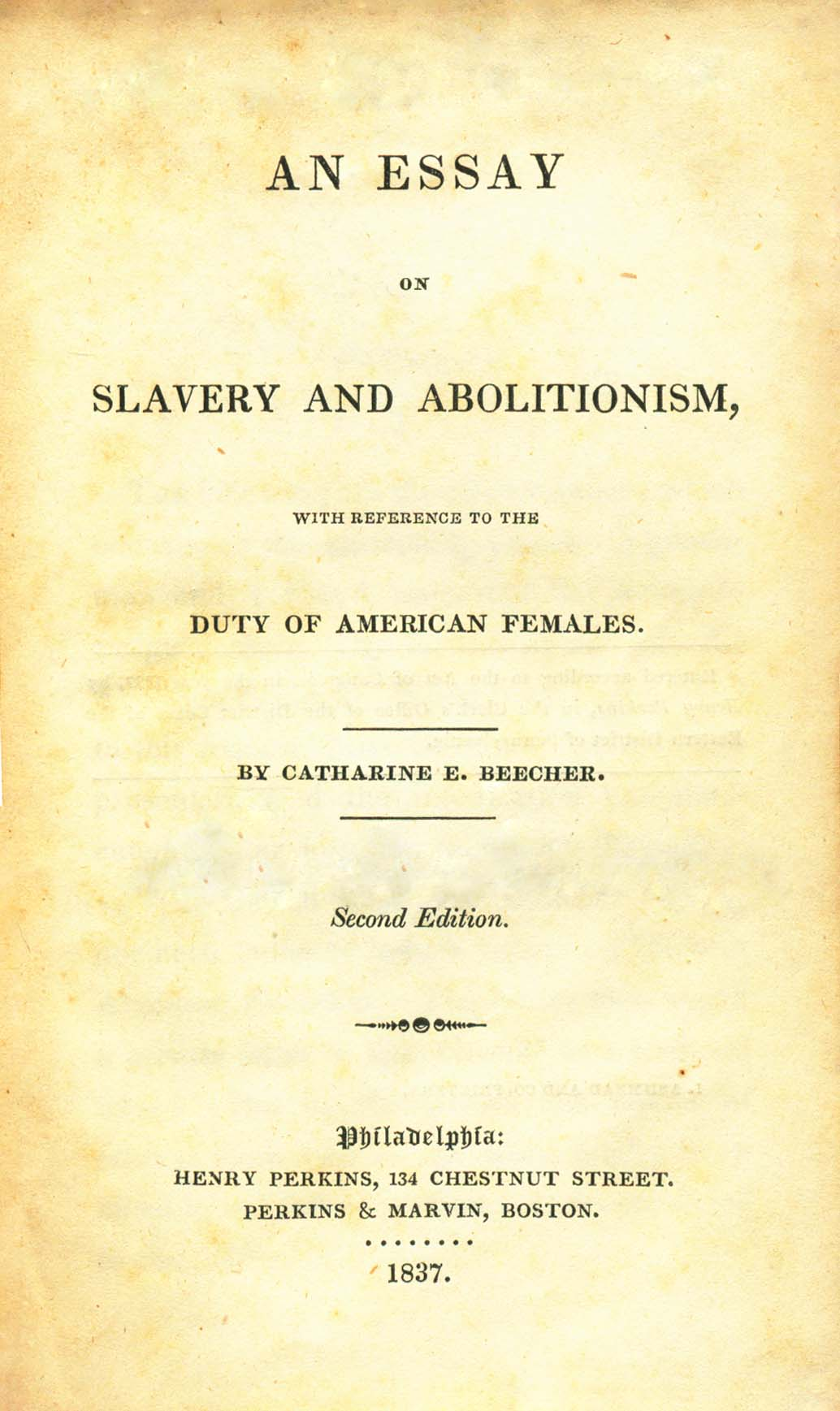 Catharine Beecher, Essay on Slavery and Abolitionism, 1837