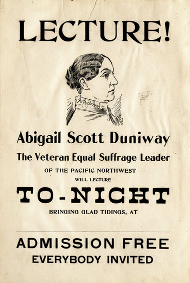 Lecture flyer for Abigail Scott Duniway, 1880s