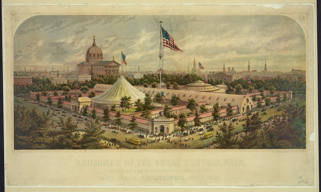Buildings of the Great Central Fair, in aid of the U.S. Sanitary Commission, Logan Square, Philadelphia, June 1864, Library of congress.