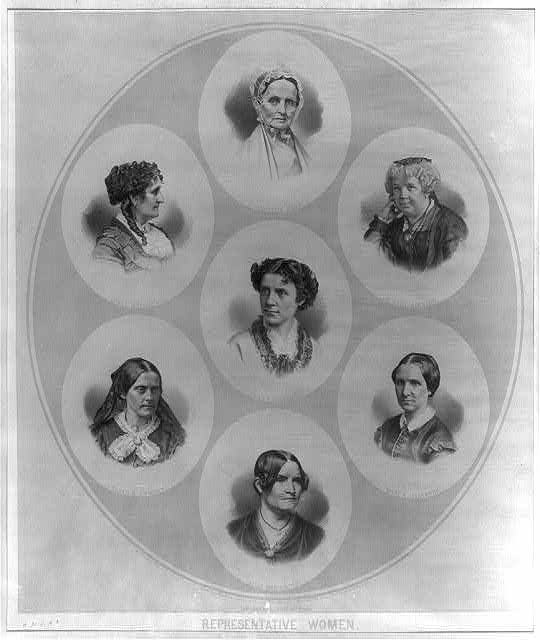 Portraits of seven prominent suffragists: Mott, Greenwood, Stanton, Dickinson, Livermore, Anthony, and Child. Library of Congress.