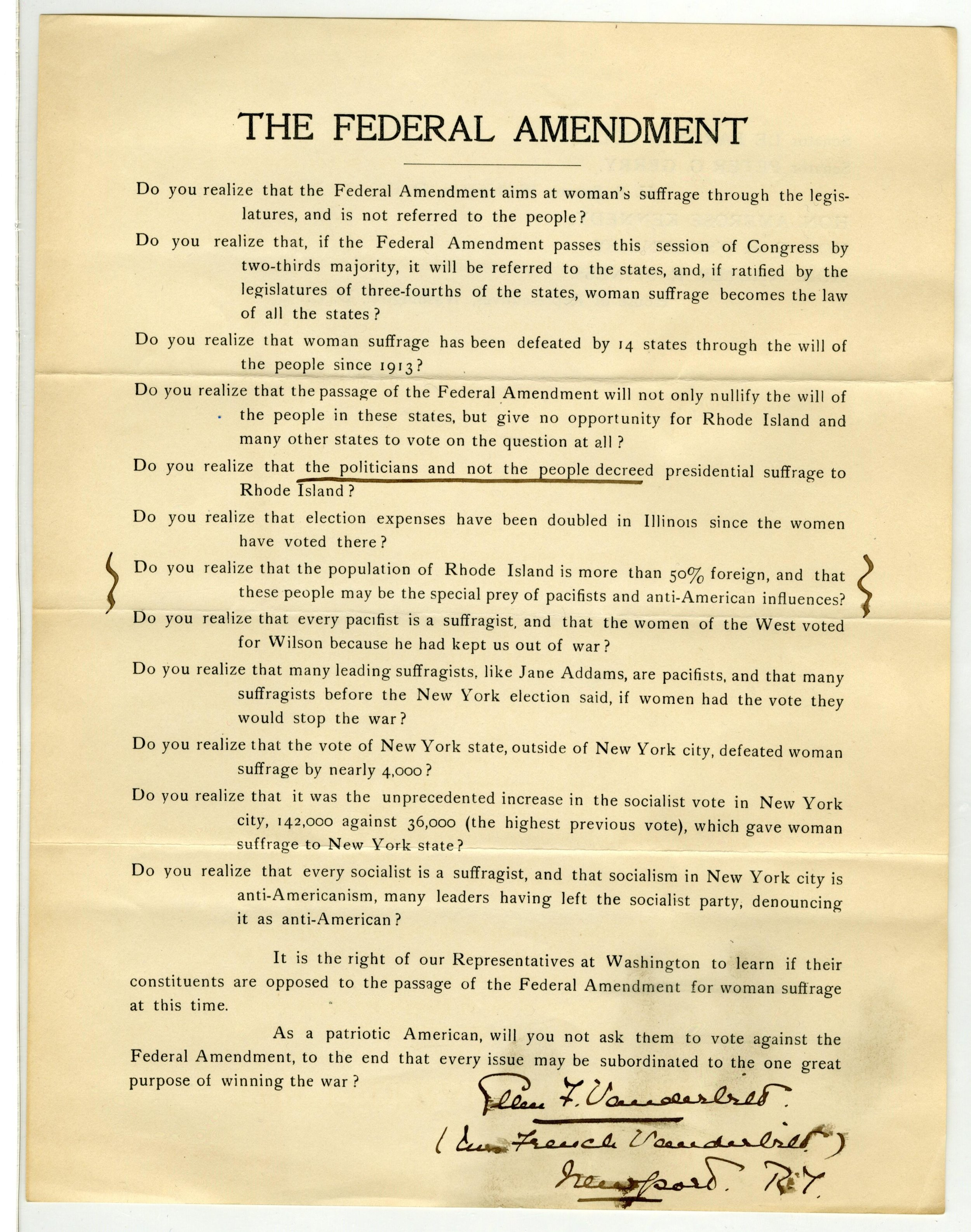 Letter Regarding the Federal Amendment from Ellen F. Vanderbilt