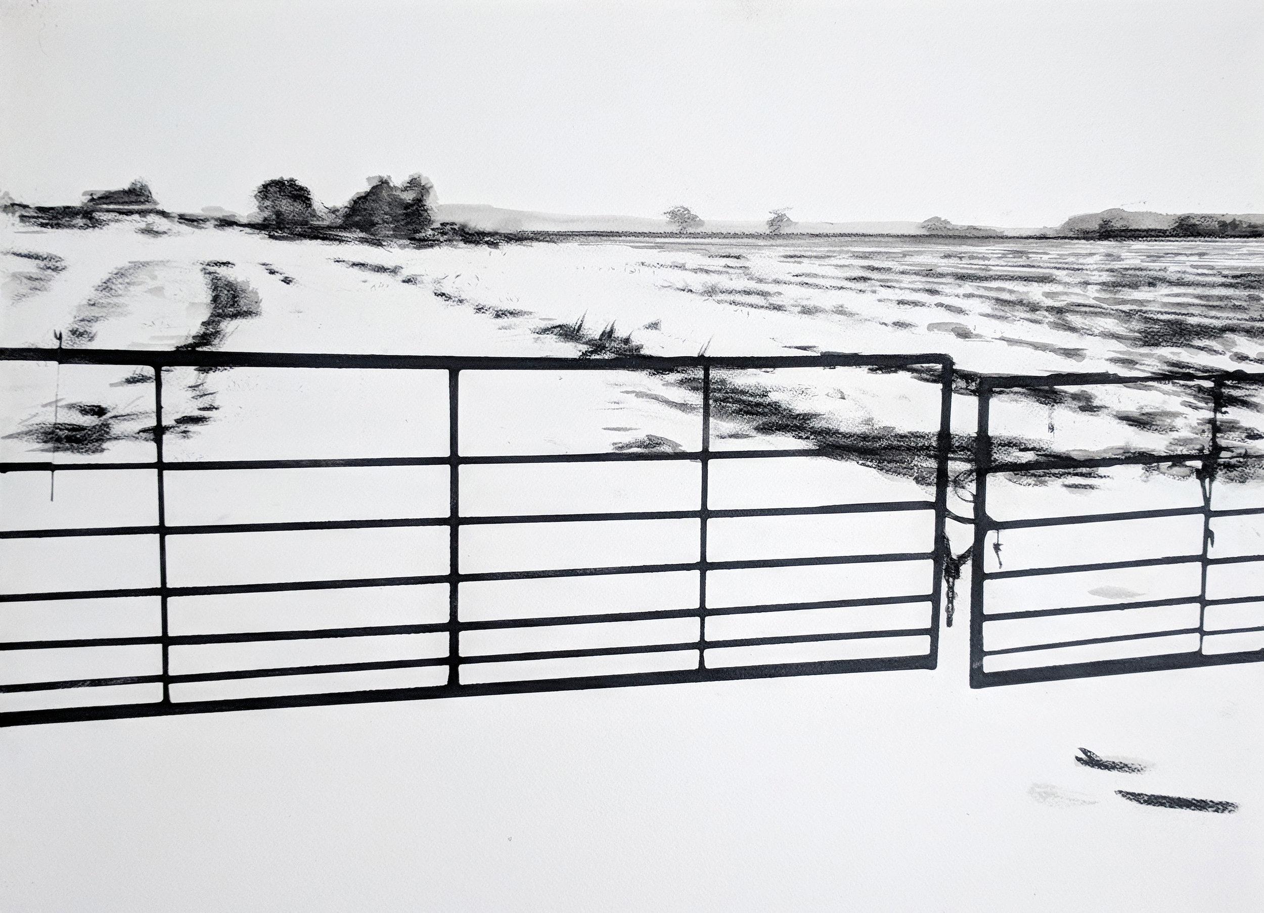 Metal gates on Border Lane - 56x76cm - 2018.jpg