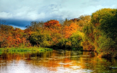 River Itchen in autumn, in Hampshire in the south of England.