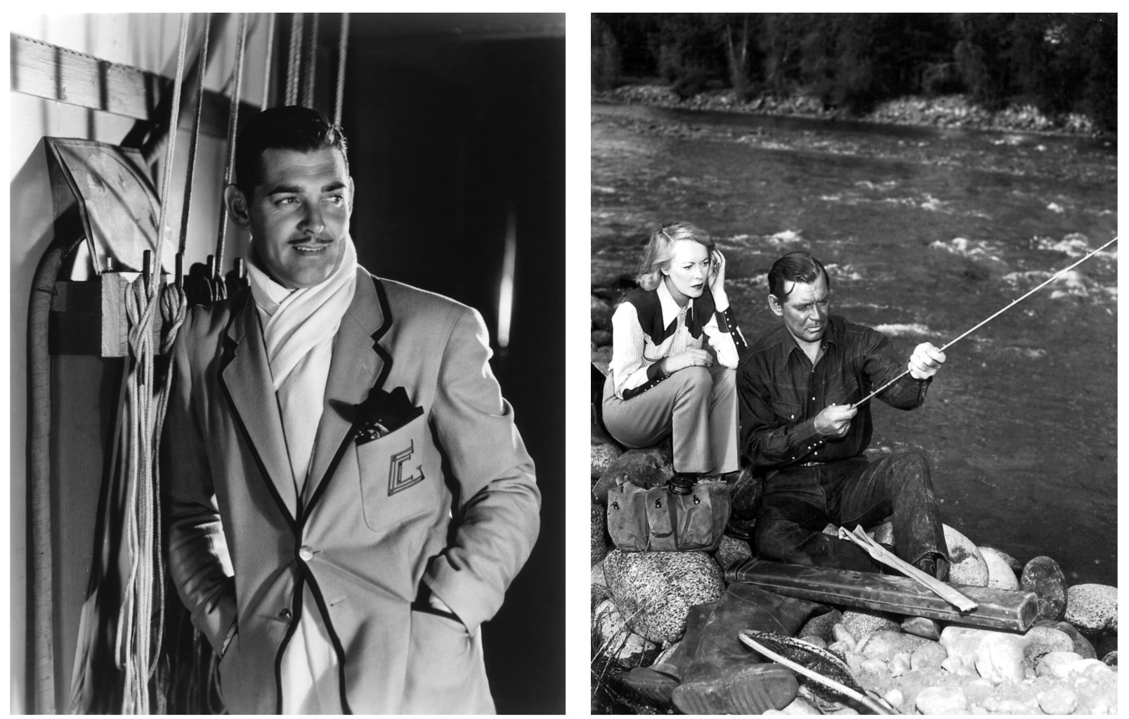 Studio publicity shot of Gable (left) and Gable and wife Sylvia fishing in Colorado during filming of Across the Wide Missouri (right).
