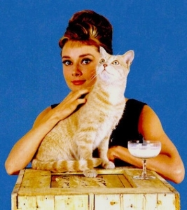 Holly Golightly (Audrey Hepburn) and Cat (Orangey) in Breakfast at Tiffany's (1961) Publicity Shot.