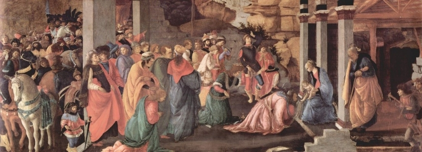 Adoration of the Kings, (about 1470) by Botticelli and Lippi, in the National Gallery, London, England.