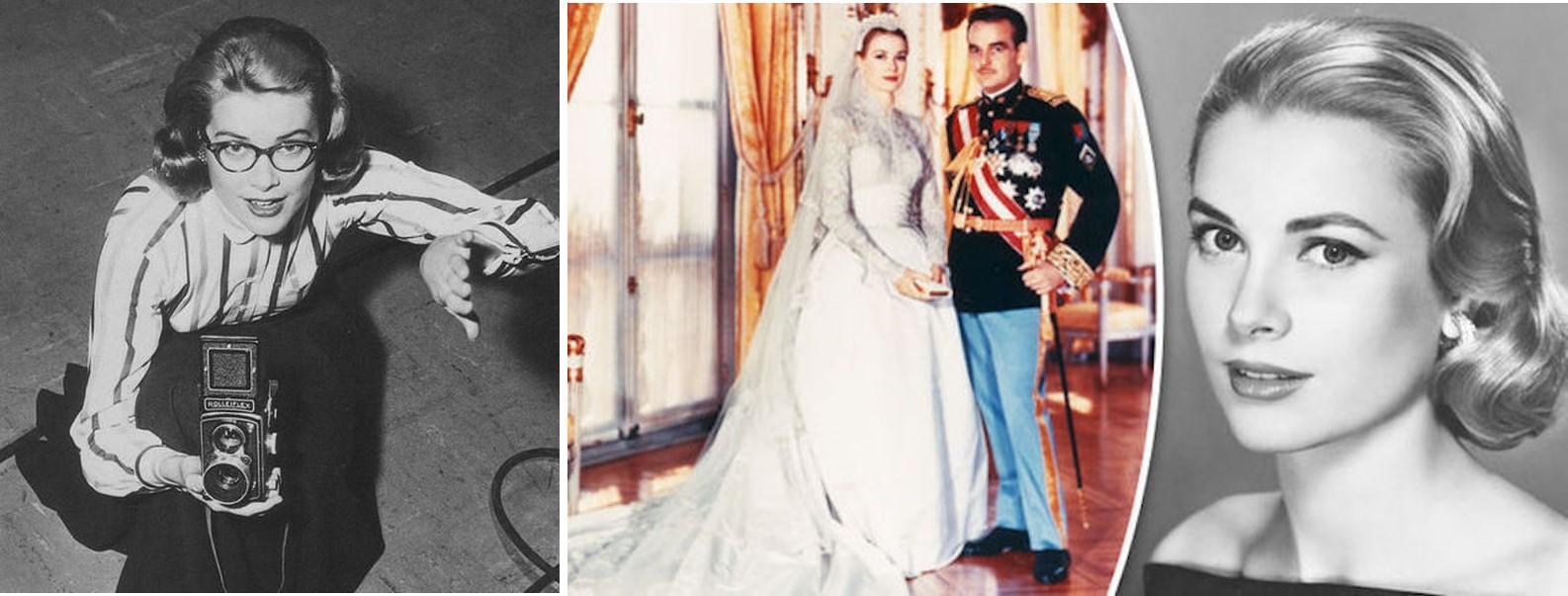 L to R: Model Grace Kelly snaps a photo. Princess Grace & Prince Ranier wedding portrait. Grace Kelly publicity still.