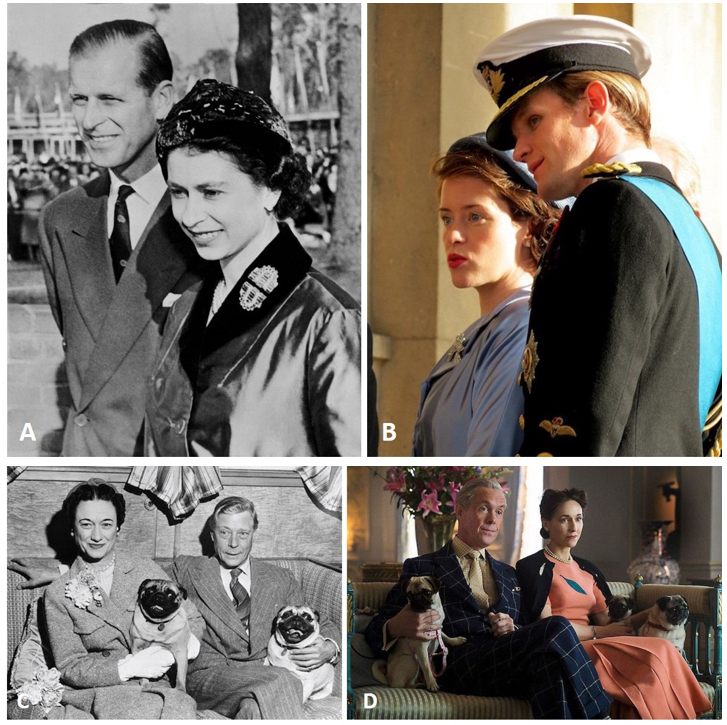 A. Queen Elizabeth and Prince Philip B. Queen Elizabeth (Claire Foy) and Prince Philip (Matt Smith) in  The Crown  C. Duke and Duchess of Windsor D. Duke (Alex Jennings) and Duchess (Lia Williams)  of Windsor, in  The Crown