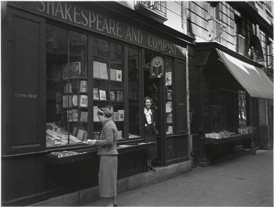 Sylvia Beach at Shakespeare and Company, 1939.