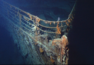 The bow of the Titanic on the floor of the Atlantic Ocean.