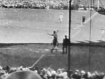 Babe Ruth points out the target of his World Series home run.
