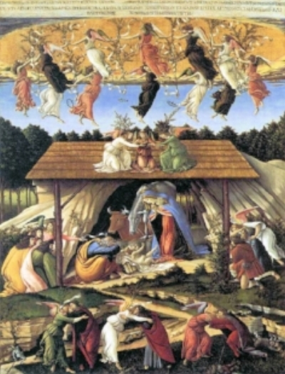 Mystic Nativity, (1500) by Sandro Botticelli, in the National Gallery, London, England.