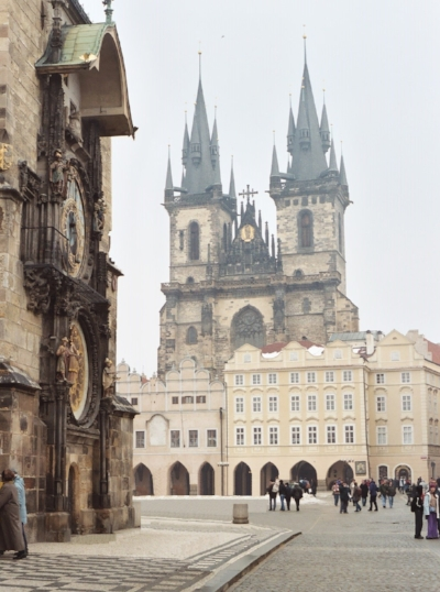 The Church of Our Lady Before Tyn, founded in 1385, dominates Prague's Old Town Square.