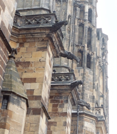 Some of the St. Vitus Cathedral gargoyles.