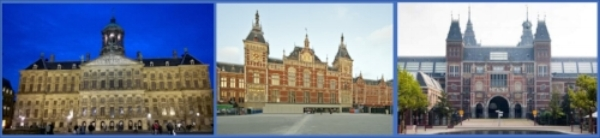 From left to right: The Royal Palace, Centraal Train Station, Rijksmuseum, Amsterdam.