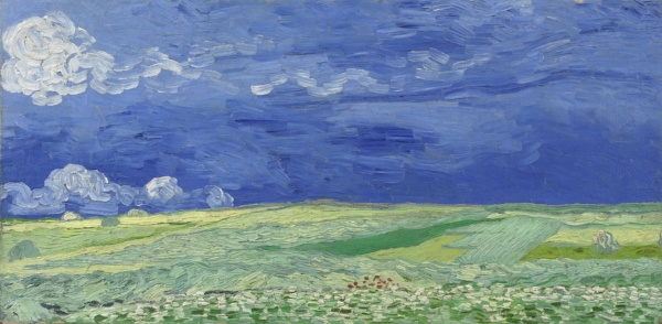 """""""There are vast fields of wheat under troubled skies, and I did not need to go out of my way to try to express sadness and extreme loneliness."""" (Vincent in a letter to his brother, Theo, July 1890)"""