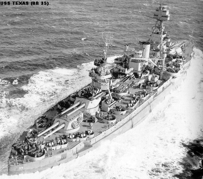 USS Texas  at sea, with two Quad 40 antiaircraft guns at the fantail—the very end—of the ship.