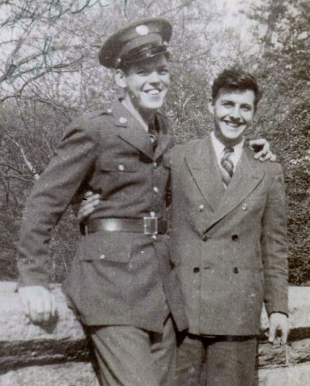 Ignoring the dangers of a world at war: Bill (home on leave one year before shipping off to New Guinea) and Jerry, March 1943.