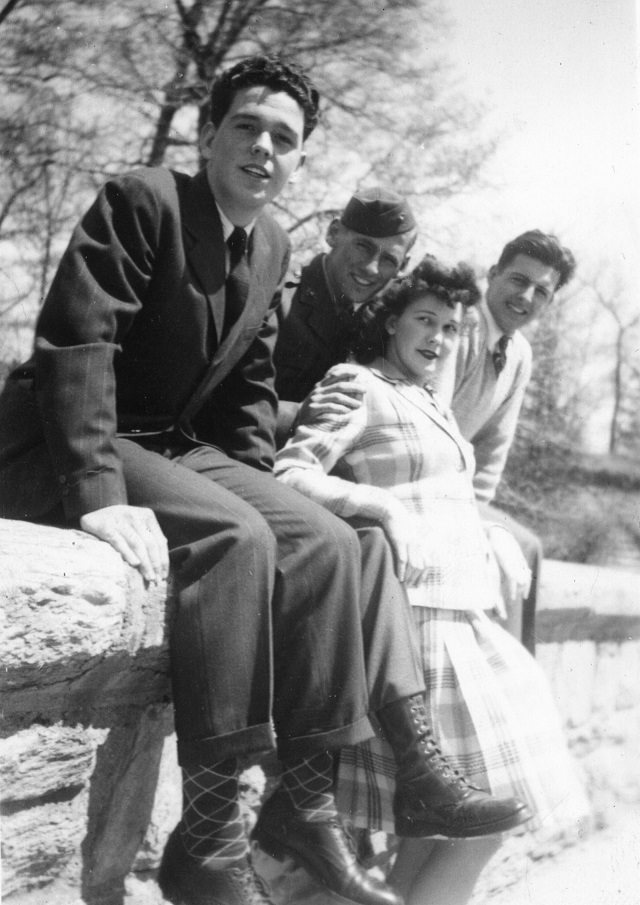 Home on leave in Philadelphia, PA, March 1943 (L to R): Jack Pawley, Frank Conlin, Mary Pawley and her future husband, Jerry McCauley.