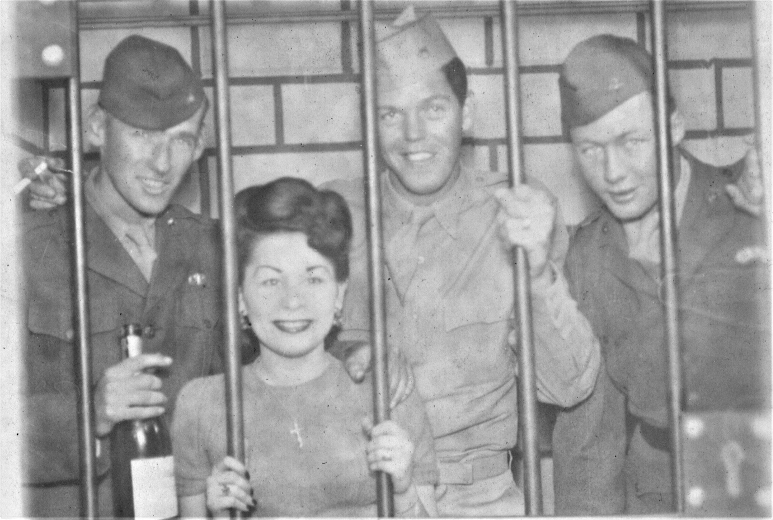 On leave and living it up in Los Angeles, CA, August 1944 (L to R): Frank Conlin, an anonymous friend, Bill Pawley, and Mike Kelly.