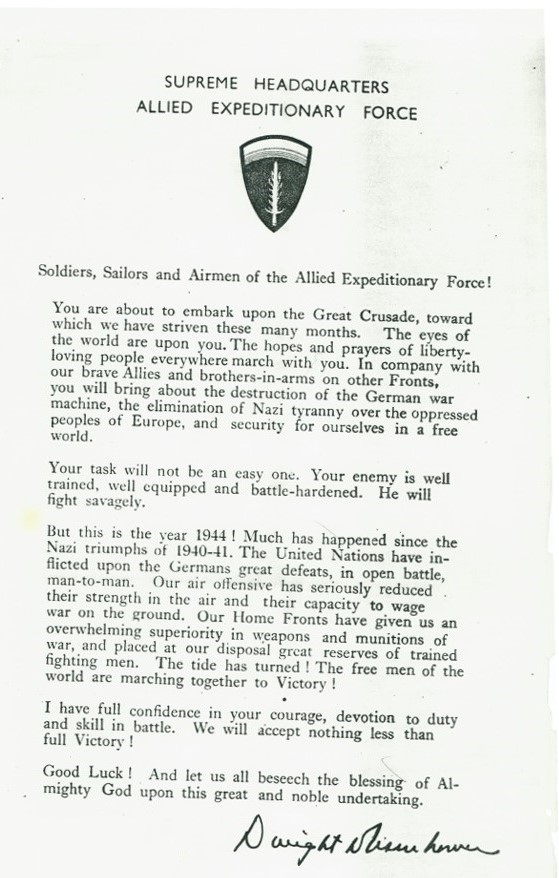 Copy of Eisenhower's address to the ship's crew, distributed to the crew just prior to June 6, 1944.