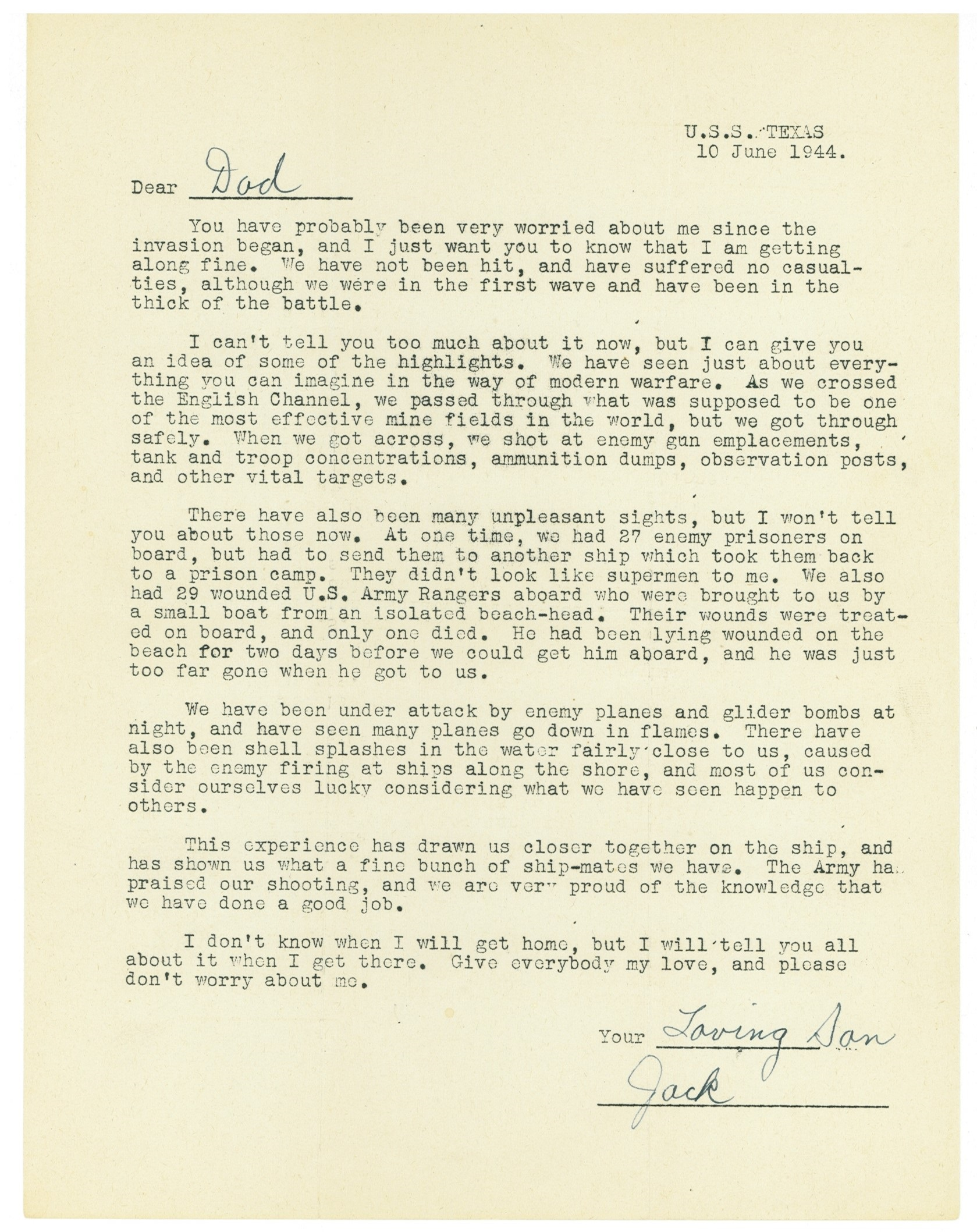 The form letter from Jack to his father, June 10, 1944.