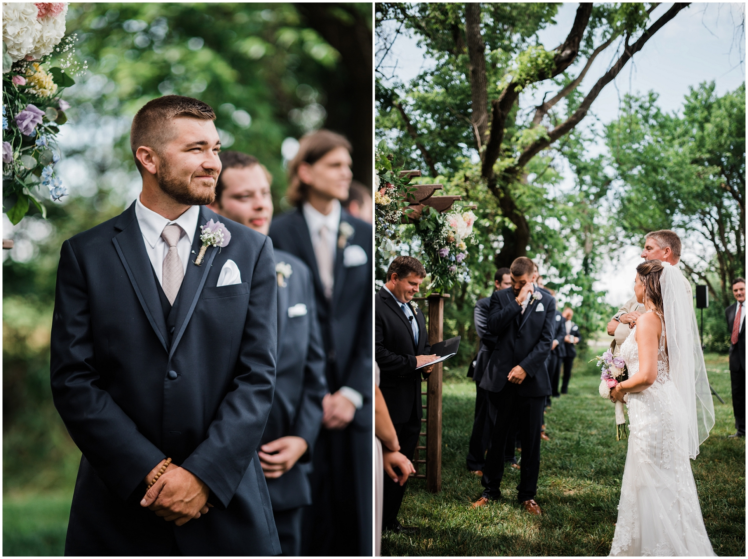 Groom's expression seeing bride for first time