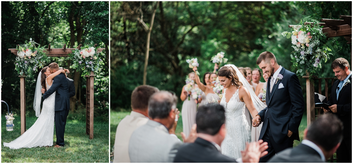 First kiss as husband and wife, Rolling Meadows Ranch wedding