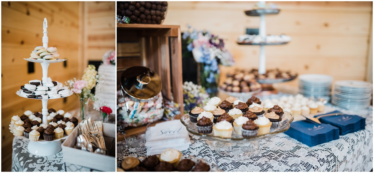 dessert table at Rolling Meadows Ranch wedding