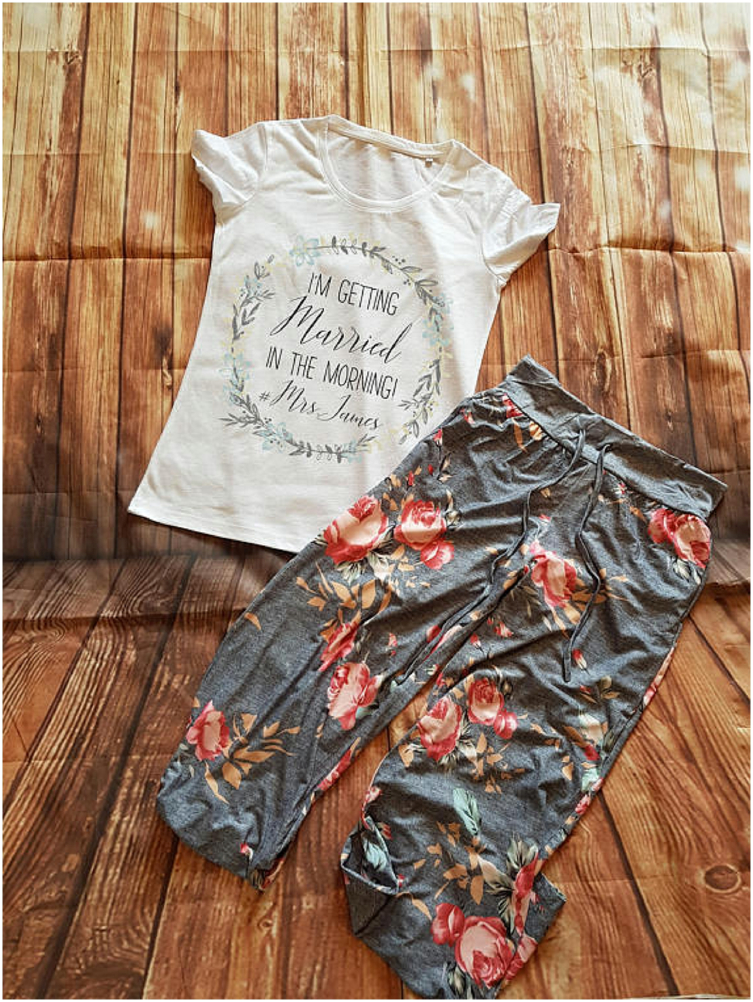 Want to stick with the floral? These sweatpants are comfy and adorable! Your bridal party will thank you for the comfort.