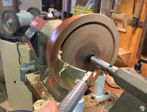 Rounds of green wood are turned into balance on the lathe and the outsides are roughly shaped. The blanks are then cored yielding 3 roughed out bowls each. In the spirit of sustainability, wood chips from the process are donated to a local heritage farm   (southlands farms.com)   that uses the chips for bedding material for their horses and other animals.