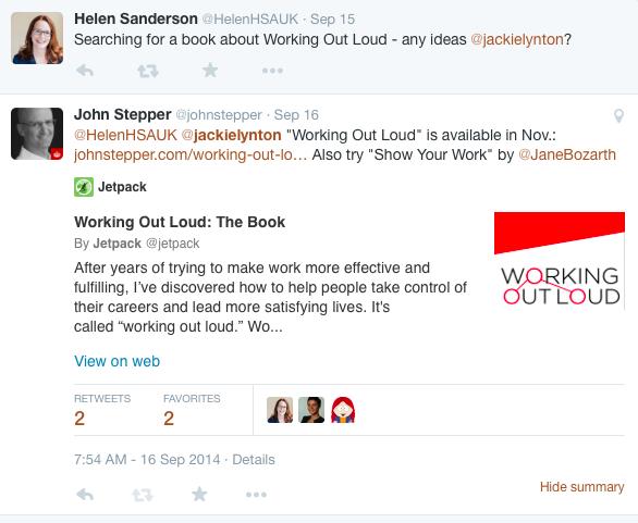 Helen Sanderson tweet