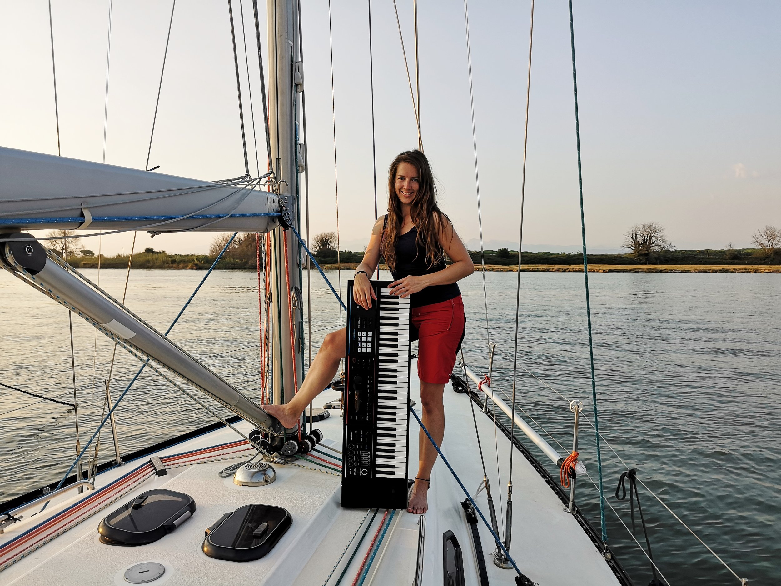 """Headed to Italy soon where the boat is waiting for the first passage to Corsica. I attached a picture of our first photo shoot on board :-)"" You can follow Bernadette and her journey on  sailingfoxes.com  &  bernifoxmusic.com  and even  watch Bernadette on YouTube"