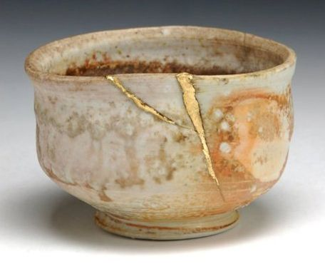 An example of kintsugi, or making art from damaged pottery - Photo credit:  June's Child