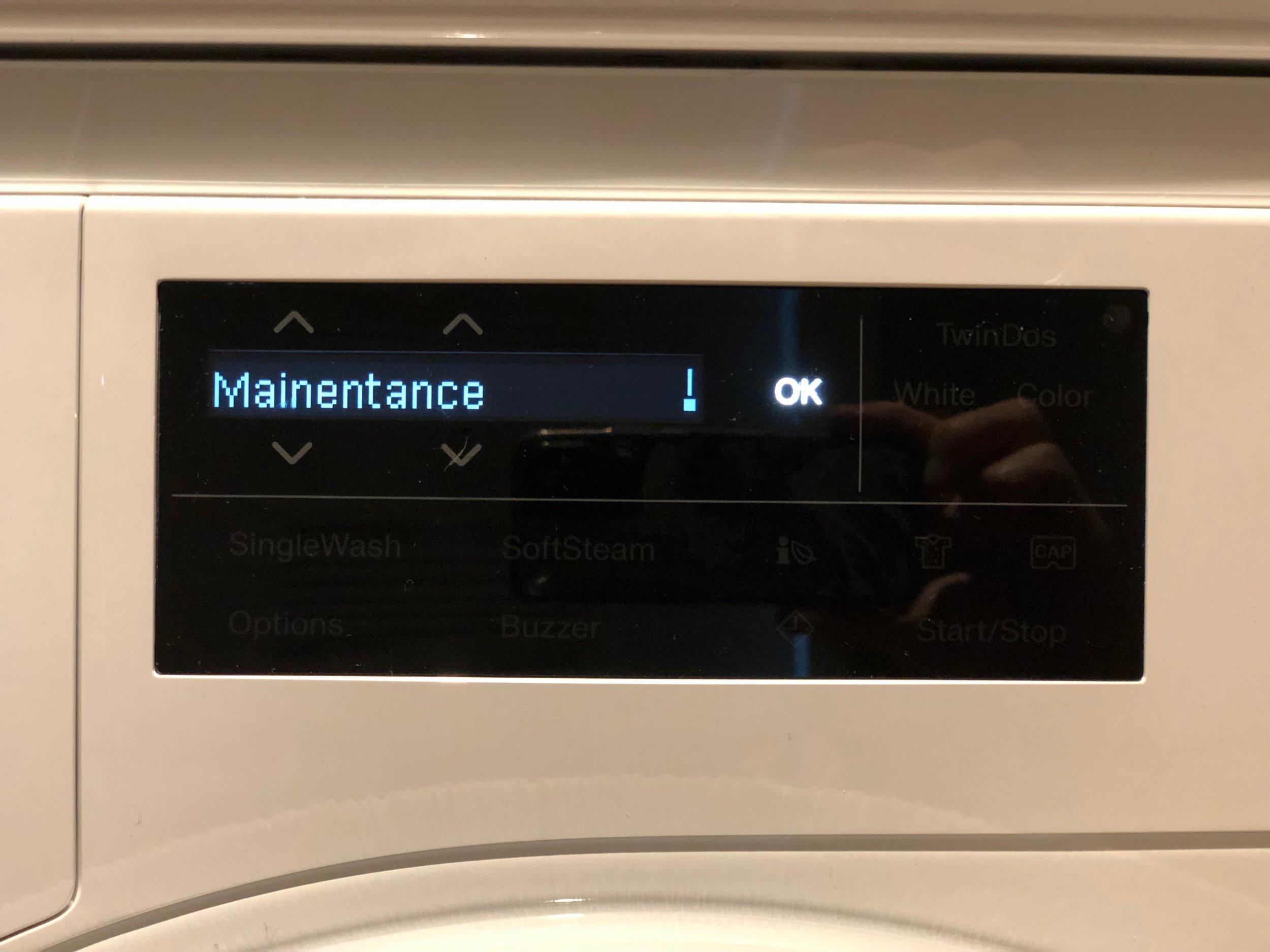 The Mainentance (sic) program on my new washing machine.