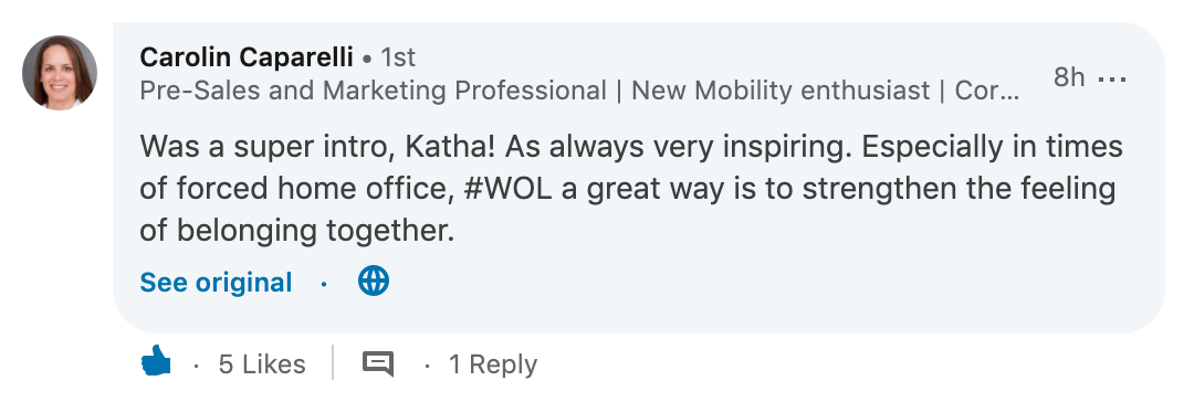 A comment on  a wonderful LinkedIn post by Katharina Krentz  (in German)