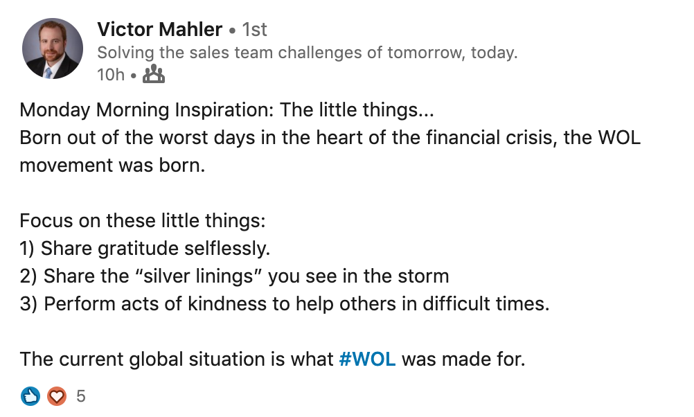 """A lovely """"Monday Morning Inspiration"""" by Victor Mahler. (We worked together at Deutsche Bank.)"""