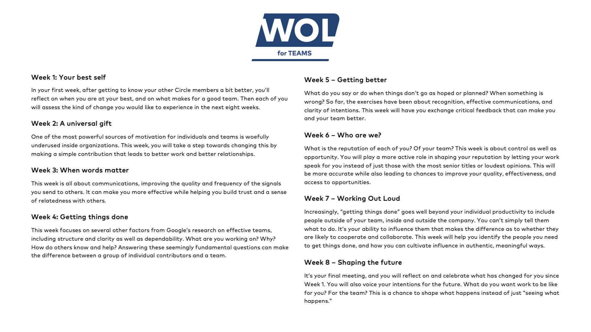 What happens in 8 weeks of WOL for Teams